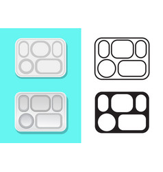Aluminium food tray with five holes vector