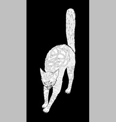 antistress coloring page with halloween black cat vector image