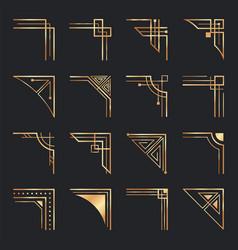 art deco corners golden geometric ornamental vector image