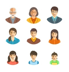 Asian family happy faces flat avatars set vector image