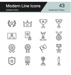 Award and trophy icons modern line design set 43 vector