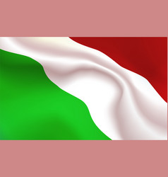 background hungarian flag in folds tricolour vector image