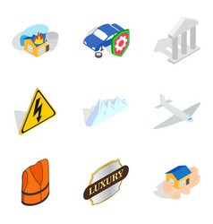 Belay icons set isometric style vector