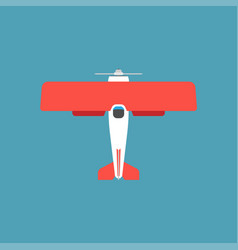 Biplane red top view icon transportation engine vector