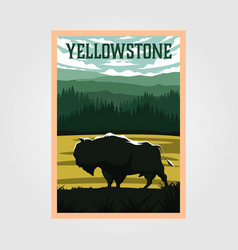 Bison on yellowstone national park vintage poster vector