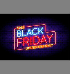 black friday sale in neon style vector image
