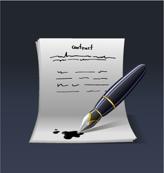 blank note paper with pen Contract vector image