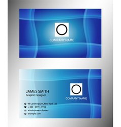 Blue wave corporate business card vector