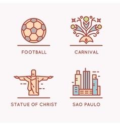 Brazilian culture linear icons set vector image