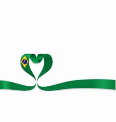 brazilian flag heart-shaped ribbon vector image
