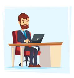 businessman working at office table flat cartoon vector image