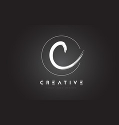 c brush letter logo design artistic handwritten vector image