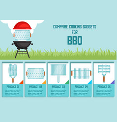 Campfire cooking gadgets for bbq banner vector