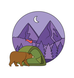 camping tent with mountains vector image