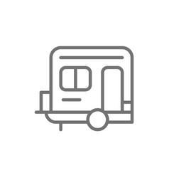 camping trailer caravan camper line icon vector image