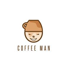 cartoon coffee man with cup on head design vector image