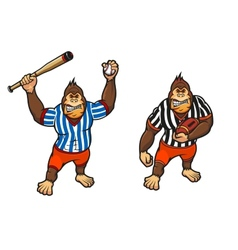 Cartoon gorilla playing baseball and rugby vector