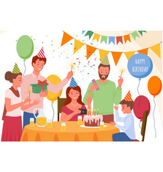 cartoon happy family and friends greeting vector image