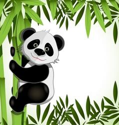 Cheerful panda on bamboo vector