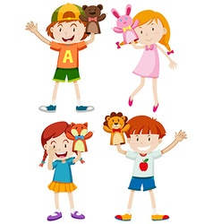 Children playing with hand puppets vector