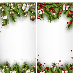 Christmas banners with spruce branches vector image vector image