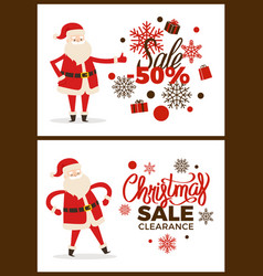Christmas sale clearance poster with santa claus vector