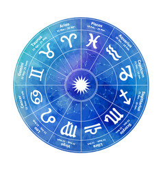 circle with signs of zodiac on watercolor vector image