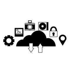 cloud computing upload download data vector image