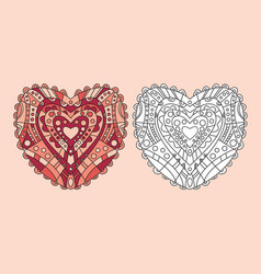 Coloring page heart ornament vector