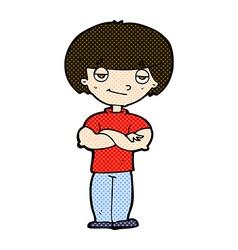 comic cartoon smug looking man vector image