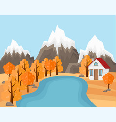 country house near the pond and mountains vector image