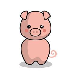 Cute pig kawaii style vector