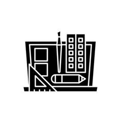 design development black icon sign on vector image