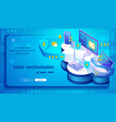 devices safety synchronization isometric website vector image