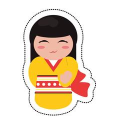 doll japanese kokeshi geisha kimono vector image