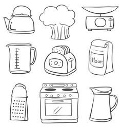 Doodle of kitchen equipment set vector