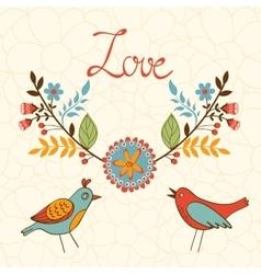 Elegant love card with birds vector