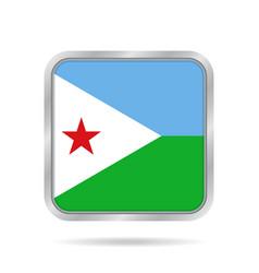 Flag of djibouti metallic gray square button vector