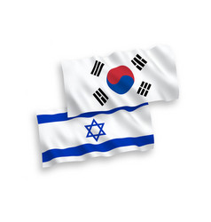 Flags south korea and israel on a white vector