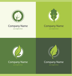 four logo with leaves in a shape circle vector image