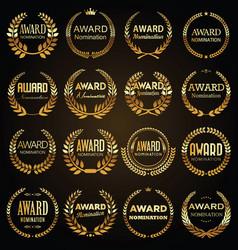 golden award signs with laurel wreath vector image