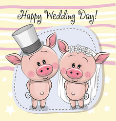 Greeting card piggy bride and piggy groom vector