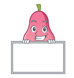 grinning with board rose apple character cartoon vector image