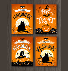 Halloween and trick or treat postcards vector