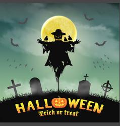 halloween silhouette scarecrow in night graveyard vector image