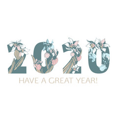 happy new year flowers pattern 2020 figures hand vector image