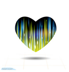 heart black icon flash energy ray glow light vector image