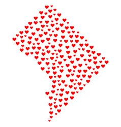 Heart collage map of washington dc vector