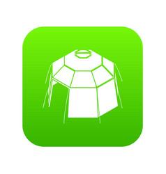 Hexagonal tent icon green vector
