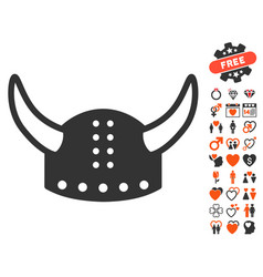 Horned helmet icon with dating bonus vector